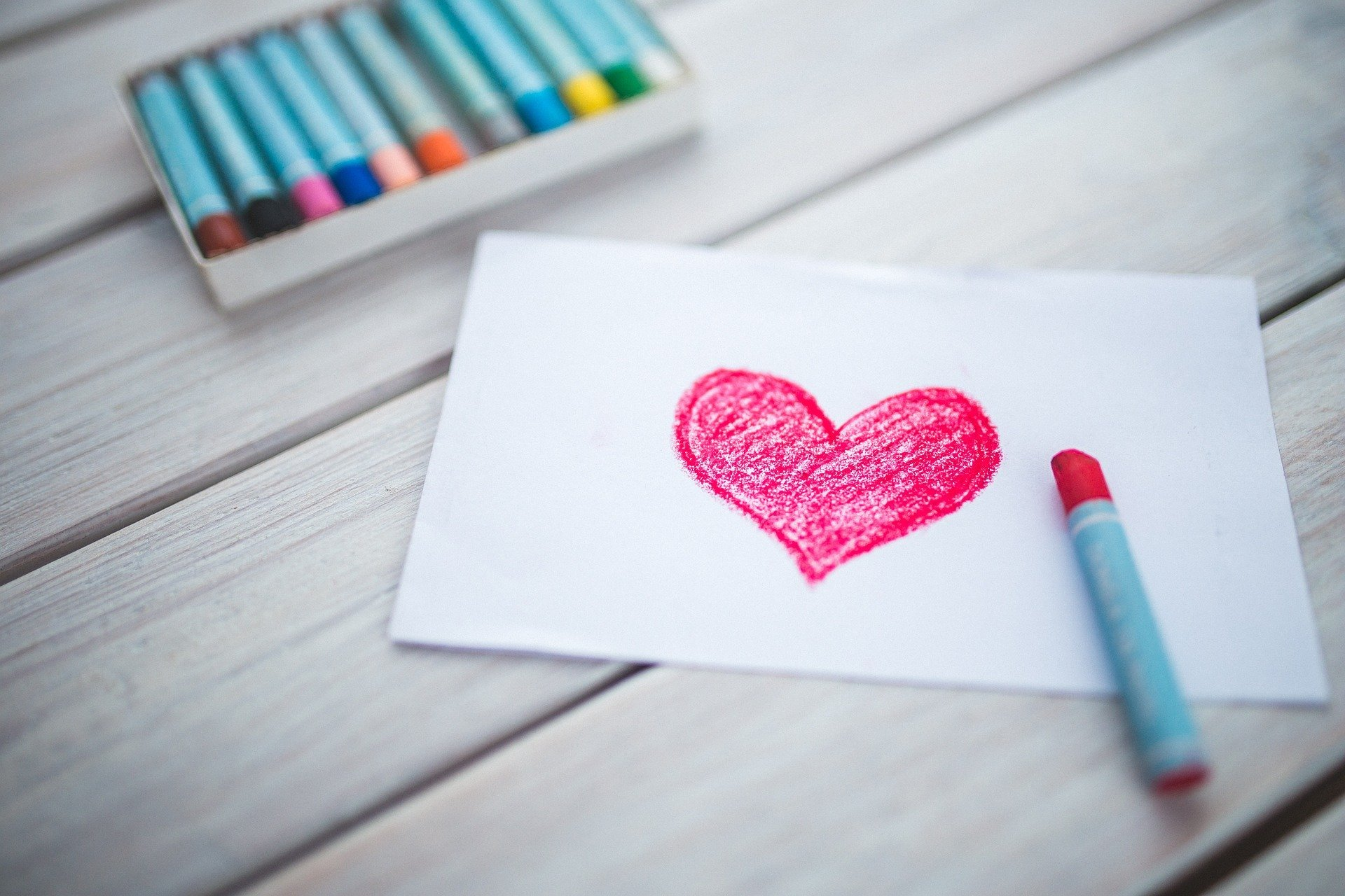 Heart colored with crayon
