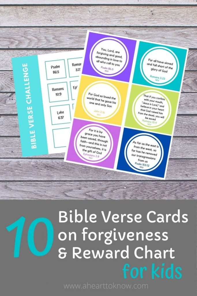 Bible Verse Cards for Kids on Forgiveness