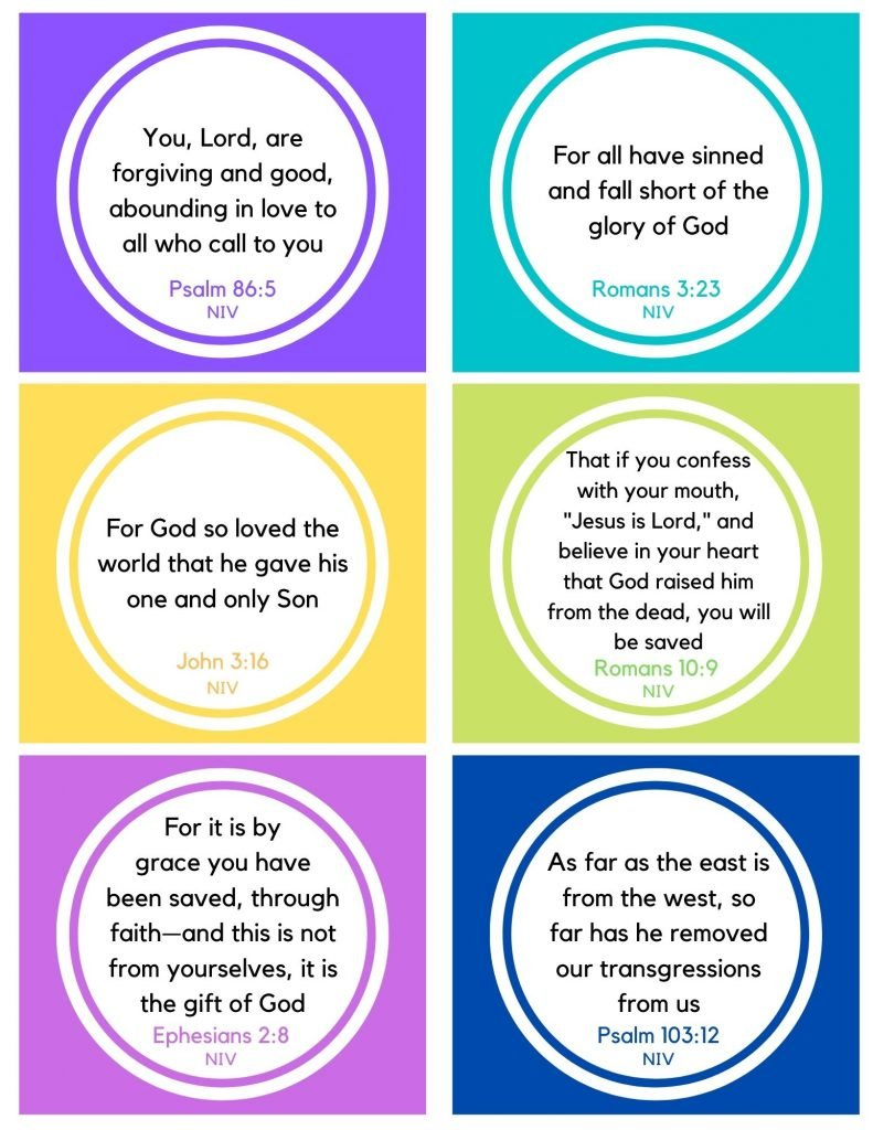 Short bible verses for Kids the teach Forgiveness memory cards